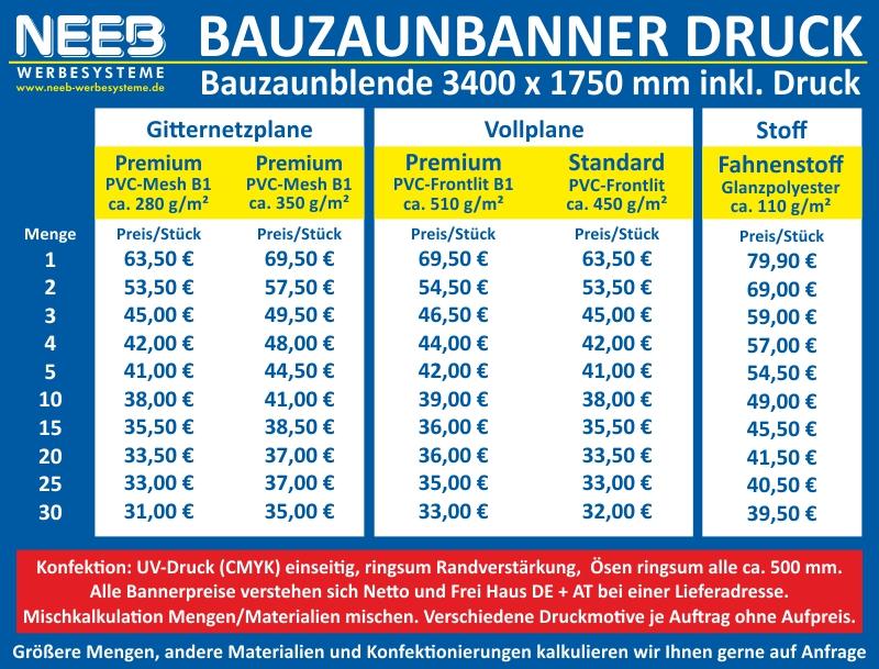 Bauzaunbanner Druck Bauzaunblende 3400 X 1750 Mm Bauzaunplane